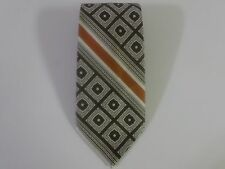 Jean Claude Vidal Men's Silk Brown Orange Classic Geometric Diagonal Neck Tie