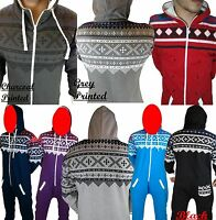 AZTEC UNISEX MENS WOMENS HOODED ZIP ONESIE PLAYSUIT ALL IN ONE PIECE JUMPSUIT