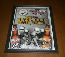 COORS LIGHT BEER SALUTES PITTSBURGH STEELERS HERES TO BLACK & GOLD FRAMED AD