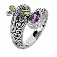 Amethyst Purple Two Tone Dragonfly .925 Sterling Silver Filled & Gold Ring Sz.8