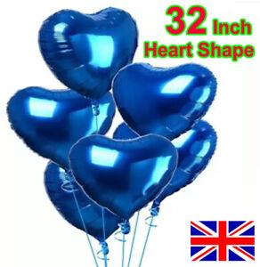 "32"" BIG LOVE HEART FOIL BALLOON. WEDDING VALENTINES BIRTHDAY PARTY Blue BALLOONS"