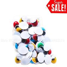 80pcs Colored Moving Wiggly Wobbly Googly Eyes with eyelash for Bear & Doll