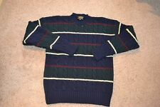 Vintage Brooks Brothers Cableknit Navy Blue Striped Crewneck 100% Wool XL or L