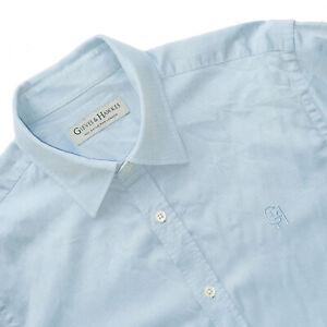Men's GIEVES & HAWKES Savile Row Luxury Powder Blue Button Down Shirt 15.5/39 M