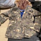 Girls Vintage Havana Jacket with fake fur hood in star camouflage- Size Large