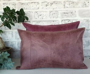 Dusty rose four-piece model faux lether fabric lumbar pillow cover -1qty