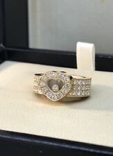 CHOPARD HAPPY DIAMONDS YELLOW GOLD DIAMOND HEART RING 82/2937 NEW! $7630 RETAIL!