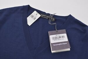 Ermenegildo Zegna NWT High Performance Light Weight V Neck Sweater In Blue 40 M