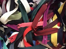"Lot of 50 Assorted Size / Color 12""-22""Nylon Metal Closed Zippers YKK, Talon,etc"