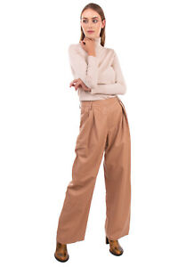 RRP €960 DROME Pleated Leather Trousers Size S Raw Cuffs Wide Leg Made in Italy