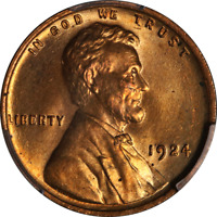 1924-P Lincoln Cent PCGS MS65RD Full Red Gem Great Eye Appeal Strong Strike