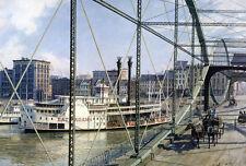 John Stobart Print - Pittsburgh: The Monongahela Wharf from Smithfield Bridge