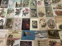 ~Lot of 40 Antique 1900's ~Mixed Topics Greetings Postcards~All with stamps-a924