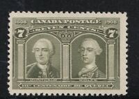CANADA NO 100 WOLF & MONTCALM FROM 1908 QUEBEC ISSUE FVF MINT NH