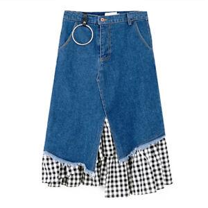 Ladies Asymmetric Splice Denim Skirt Check Fishtail Hem Retro Hippie Gypsy Slim