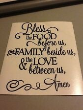 Bless the Food Before Us,Family Beside Us Vinyl wall die cut decal, kitchen,home