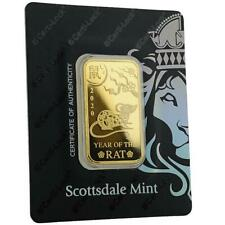 SPECIAL PRICE! 2020 1 oz .9999 Gold Bar Year of the Rat in Certi-LOCK COA #A491
