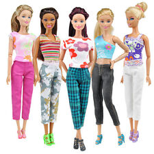 5 Set Fashion Doll Clothes Handmade Summer Tops Pants Outfit for Barbie Solid