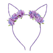 Rose Flowers Cat Ears Headband Hair Band Women Beach Party Costume Hairband Gift