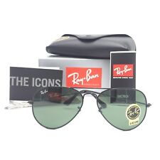 New Ray-Ban RB3025 W3235 Black Aviator Sunglasses w/ G-15 Green Lenses 55mm