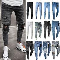 Men Ripped Biker Skinny Jeans Frayed Pants Casual Slim Zip Jogger Denim Trousers