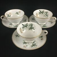 Set of 3 VTG Cups and Saucers Noritake 5471 Gold Flowers Green Grey Leaves Japan