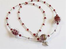 HM0166... GLASS BEAD NECKLACE WITH BEAD CAGES - FREE UK P&P