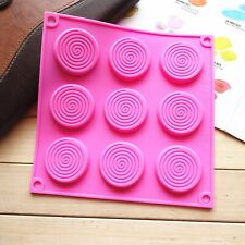 9 Swirl Lollipops Round Silicone Mould Thin Chocolate Jelly Ice Cube Candy Mold