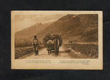 c1910 View of 2 Italian Men with a Cow Pulling & Hay Cart