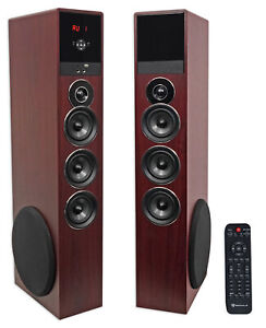 """Rockville TM150C Cherry Powered Home Theater Tower Speakers 10"""" Sub/Blueooth/USB"""