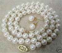 "8mm White Akoya Cultured Shell Pearl Necklace Earring Set 18"" AAA"