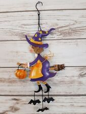 """Halloween Flying Witch w/Bats Hanging by Her Feet Door Decor Tin 21"""" H x 9"""" W"""