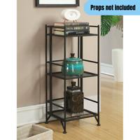 3-Tier Foldable Metal Bookcase Shelf Home Office Kitchen Storage Organizer Black