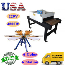 220v 4800w Conveyor Tunnel Dryer With 6 Color 6 Station Screen Printing Machine