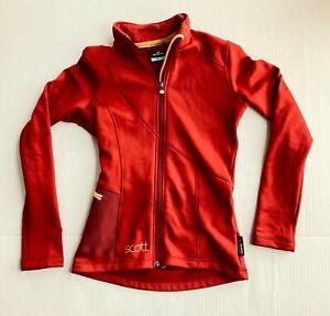 Scott Cycling Polartec Power Stretch Full Zip Jacket Womens XS Cardinal Red Gold