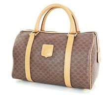 Authentic CELINE Brown Macadam Canvas and Leather Boston Hand Bag #21907A