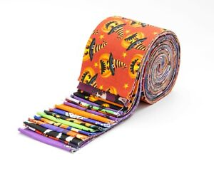 """17 pc Halloween 1 Jelly Roll 2.5"""" pre-cut 100% cotton fabric quilting strips"""