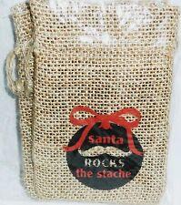 """Christmas Burlap Treat Bags 3.25"""" x 5"""" 2 Pieces Santa Rocks The Stache"""