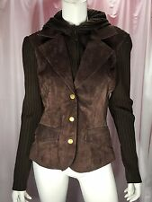Alice Blue Brown Leather Front Knit Hooded Sweater Coat Women's M