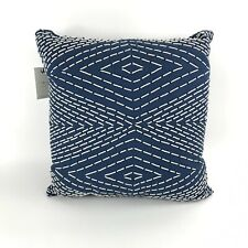 "Lucky Brand Home Soutache Decorative Bed Pillow Blue Cotton 20"" x 20"" New"