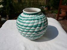 Alte antike Gmundner Keramik Vase Blumenvase grün weiß Original
