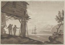 """""""VOILIER"""" Dessin original encre sépia signé SG. septembre 1810 46x29cm"""