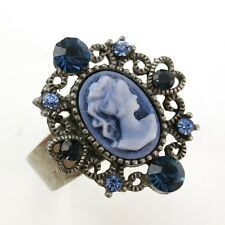 Antique Silver Vintage Style CAMEO Ring Heart Blue Stone Crystal Rhinestone cb4