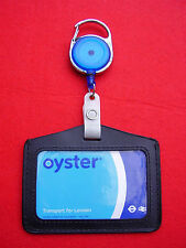 Blue Retractable Belt Reel & Oyster Card/Security/Bus Pass ID Leather Holder (L)