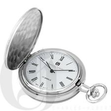 New Charles-Hubert Brass Hunter Case Chrome Mechanical Pocket Watch 3841-WR