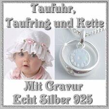 Taufuhr Taufring mit Gravur Kette Echt Silber Schmuck Taufe Geburtsuhr Taufkette