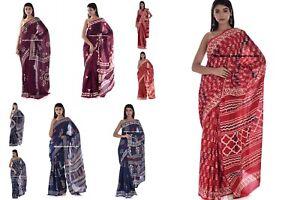Indien 100% Pure Coton Sari Ethnique Bloc Imprimé Corps Enveloppe Tissu