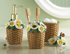 Attractive 4 Pc Set Of Daisy Woven Basket Bath Accessories 94899