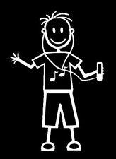 Il mio Bastone Figura Famiglia Auto Finestra Adesivi Decalcomania B7 Boy Cuffie, Ipod