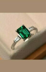 1.50 CT Green Emerald Diamond Three Stone Engagement Ring 14k White Gold Over
